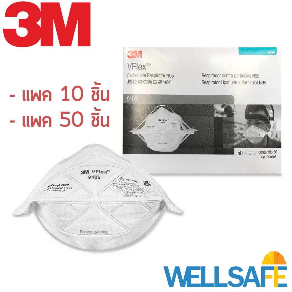 ตัวแทนจำหน่าย! หน้ากากกันฝุ่นละออง N95 3M รุ่น 9105 สำหรับกันฝุ่น PM2.5 หน้ากากป้องกันฝุ่น หน้ากากN95 mask ผ้าปิดจมูก