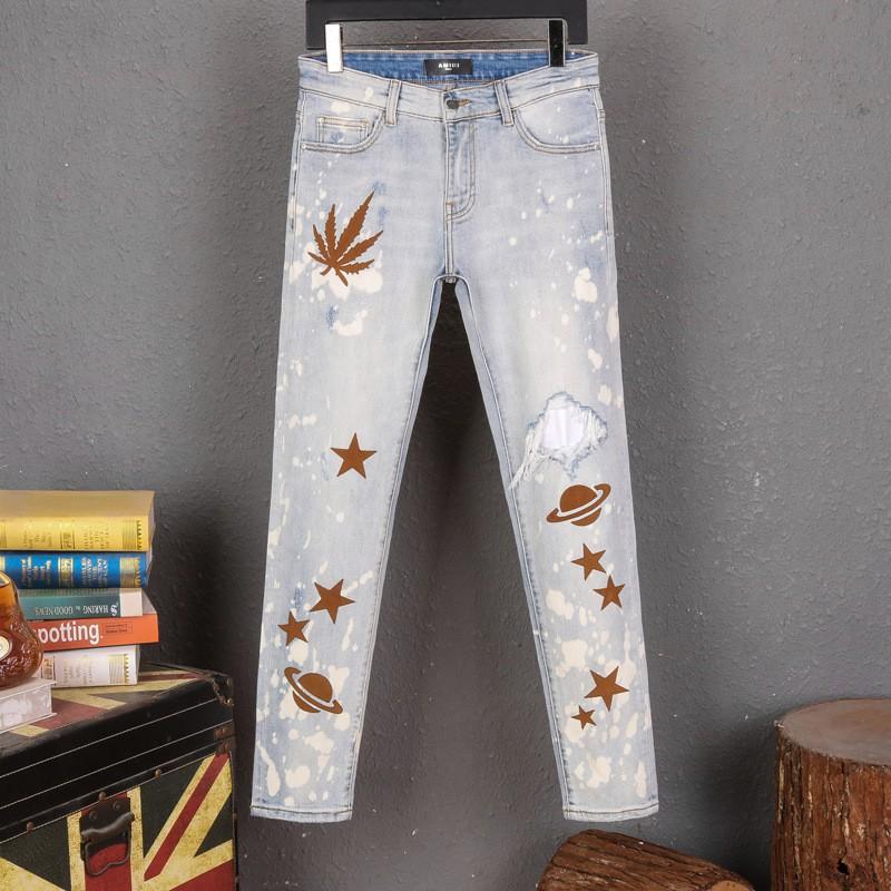 มีความยืดหยุ่นAMIRI Amiri jeans บางกางเกงกางเกงยีนส์โคบาล