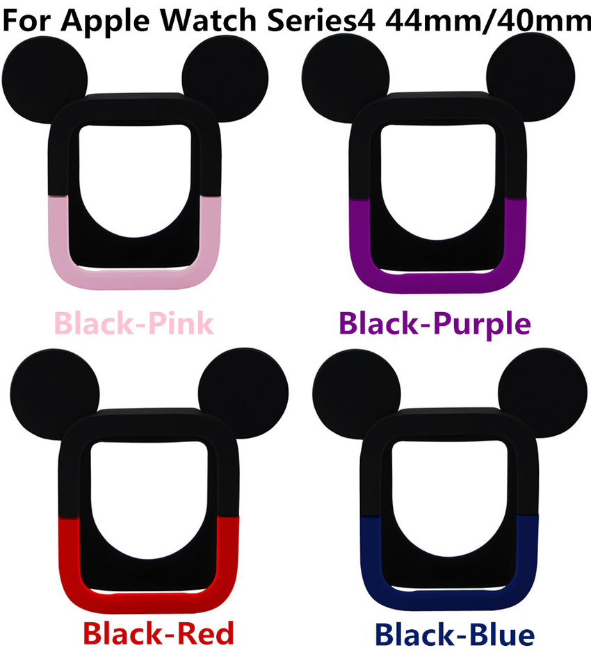 Cartoon Mickey Silicone Case Apple Watch Series SE 6 5 4 3 2 1 Protect Soft Frame Cover iwatch 44mm 40mm 38mm 42mm Cute Rubber Case