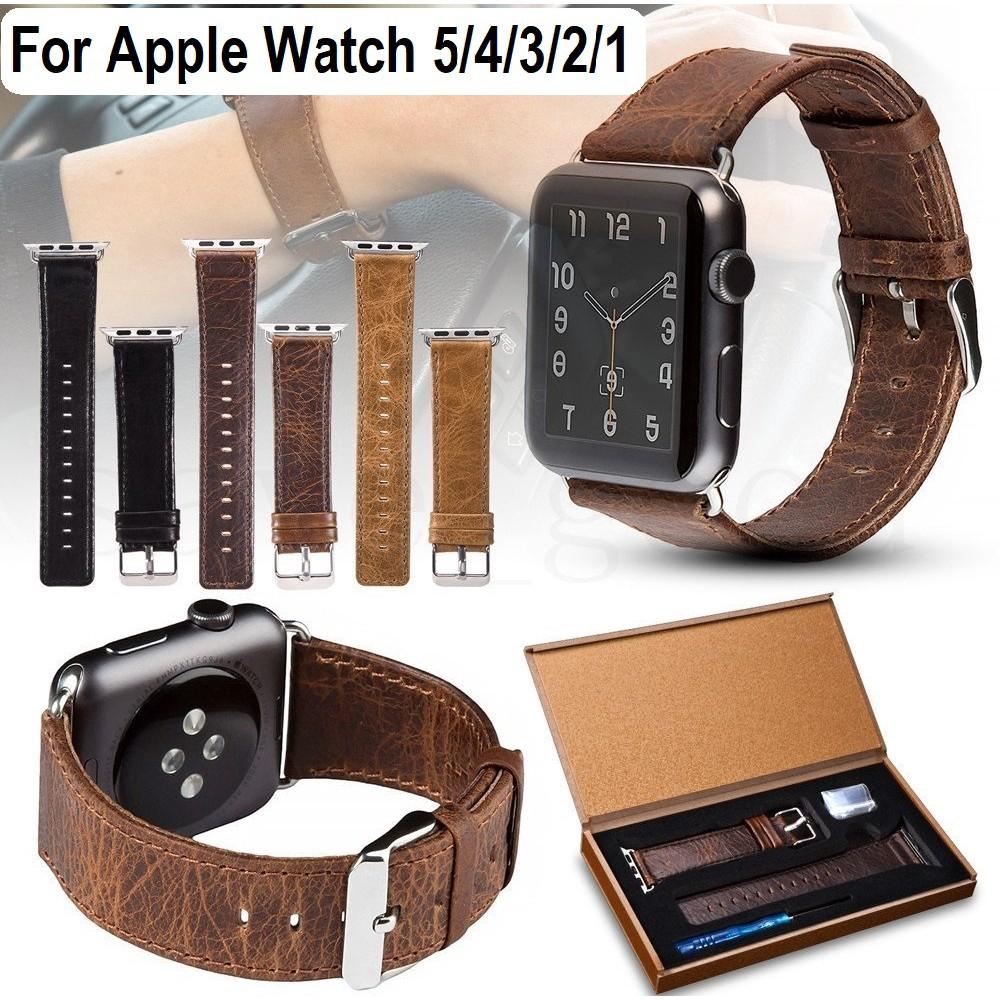 สายนาฬิกาข้อมือหนังสําหรับ apple watch series 5 4 3 2 1 apple watch ขนาด 38 มม. 40 มม. 42 มม.