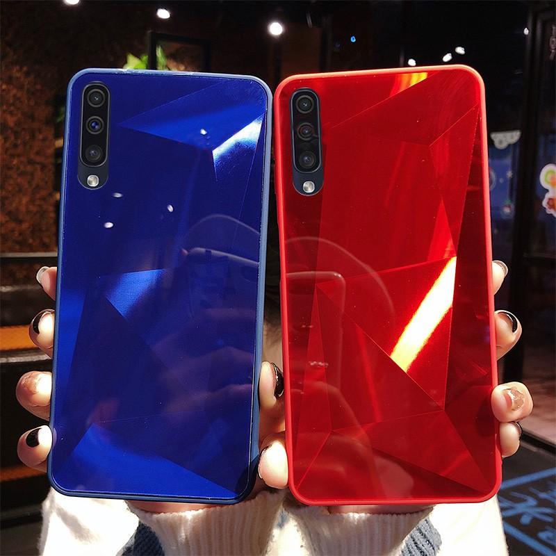 Samsung Galaxy A10 A20 A30 A50 A70 A7 2018 A750 Luxury 3D Mirror Diamond  Bling Soft Bumper Hard Case Cover