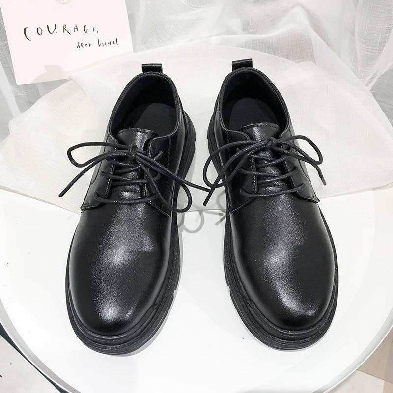 รองเท้าคัชชูผู้ชาย ♝ฤดูใบไม้ร่วงฤดูหนาวรองเท้าชายเวอร์ชั่นเกาหลีของเทรนด์ป่ารองเท้าสีดำชายอังกฤษนุ่มด้านล่างเยาวชนสูทหล่