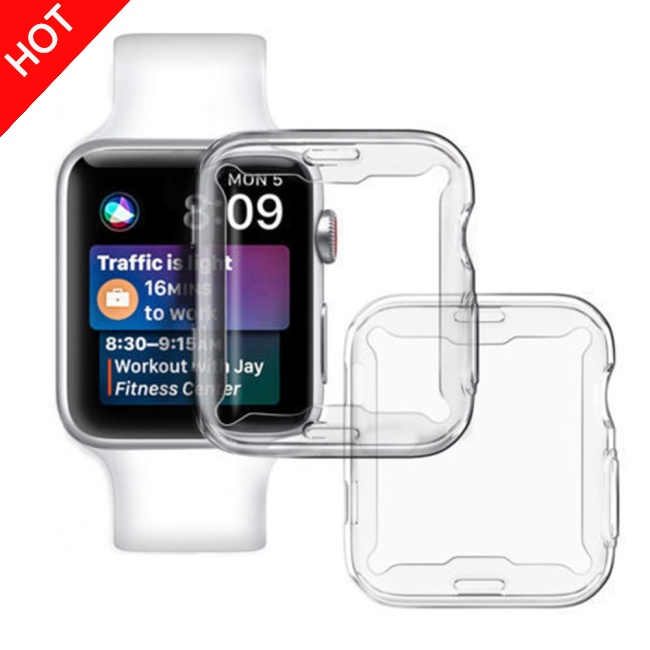 vlth0e Ultra-thin Soft TPU Transparent Protector Case for Apple Watch Series 4 44mm 40mm