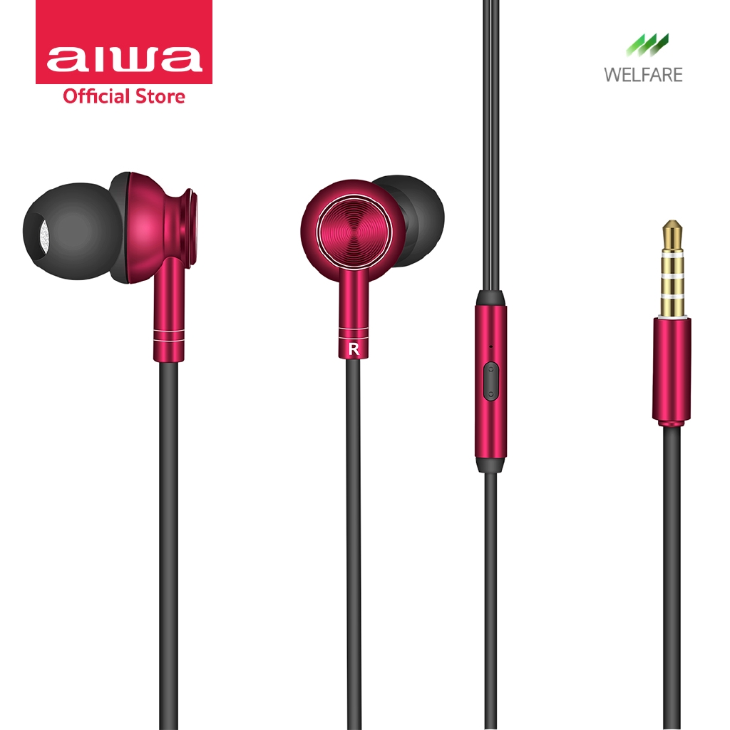 AIWA ESTM-100 In-Ear Earphones หูฟังมีสาย เบสหนัก น้ำหนักเบาพิเศษ (หูฟัง, เครื่องเสียง)