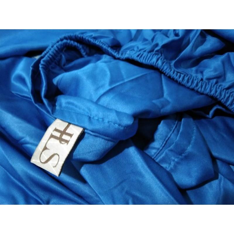 HLS ผ้าปูที่นอน 6ฟุต 5 ชิ้น ไม่มีผ้านวม มุม12นิ้ว สีน้ำเงินผ้า Micro satin มันๆลื่นๆทอแน่นๆ465เส้น