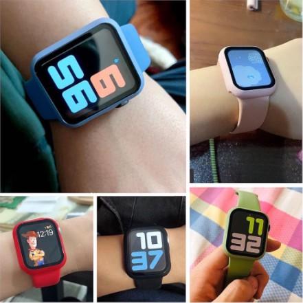 【10 แบบ】สายรัดและตัวเรือนในตัว Apple Watch strap ซิลิโคนเหลว สายนาฬิกาข้อมือ iWatch Series SE 6 5 4 3 2 1สาย applewatch