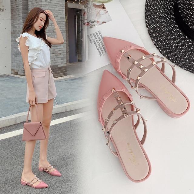 รองเท้าหัวแหลม  ส้นแบนหัวแหลม รองเท้าผู้หญิง รองเท้าคัชชู ส้นเตี้ย รองเท้าแฟชั่นปลายแหลมเปิดส้น เสริมส้น หรู ดูดี กันลื่