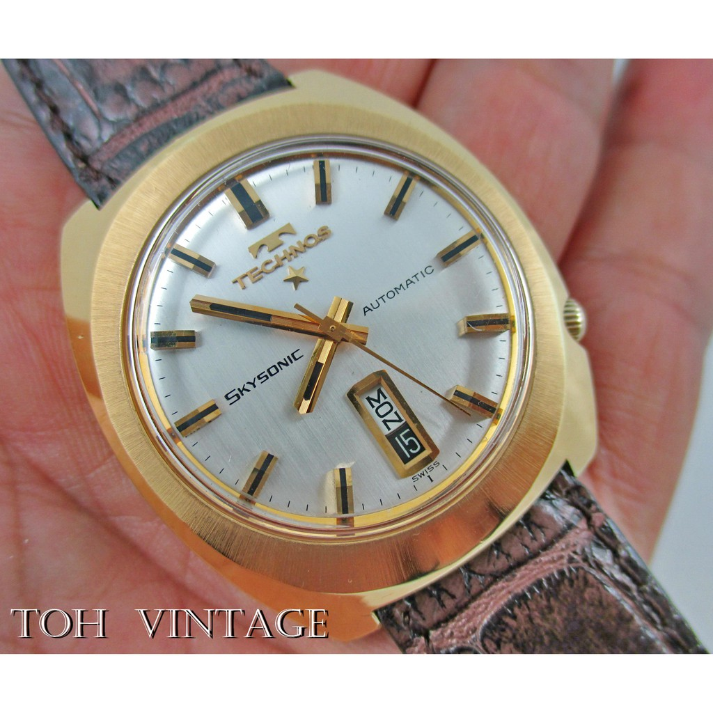 vintage TECHNOS SKYSONIC automatic day-date goldfilled โทร.081-2984989