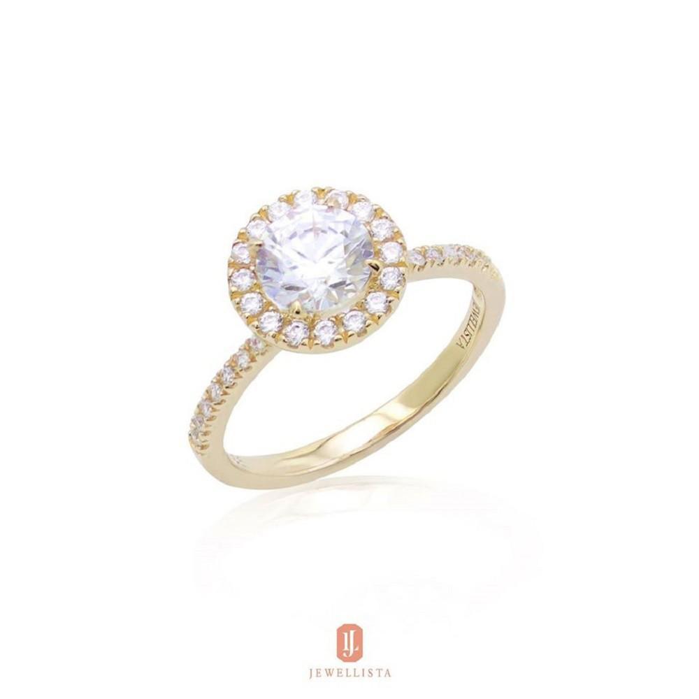 ราคาพิเศษ∋☢☄Jewellista แหวน Halo เงินแท้ ประดับพลอย Zirconia จาก Swarovski ชุบทองคำขาว