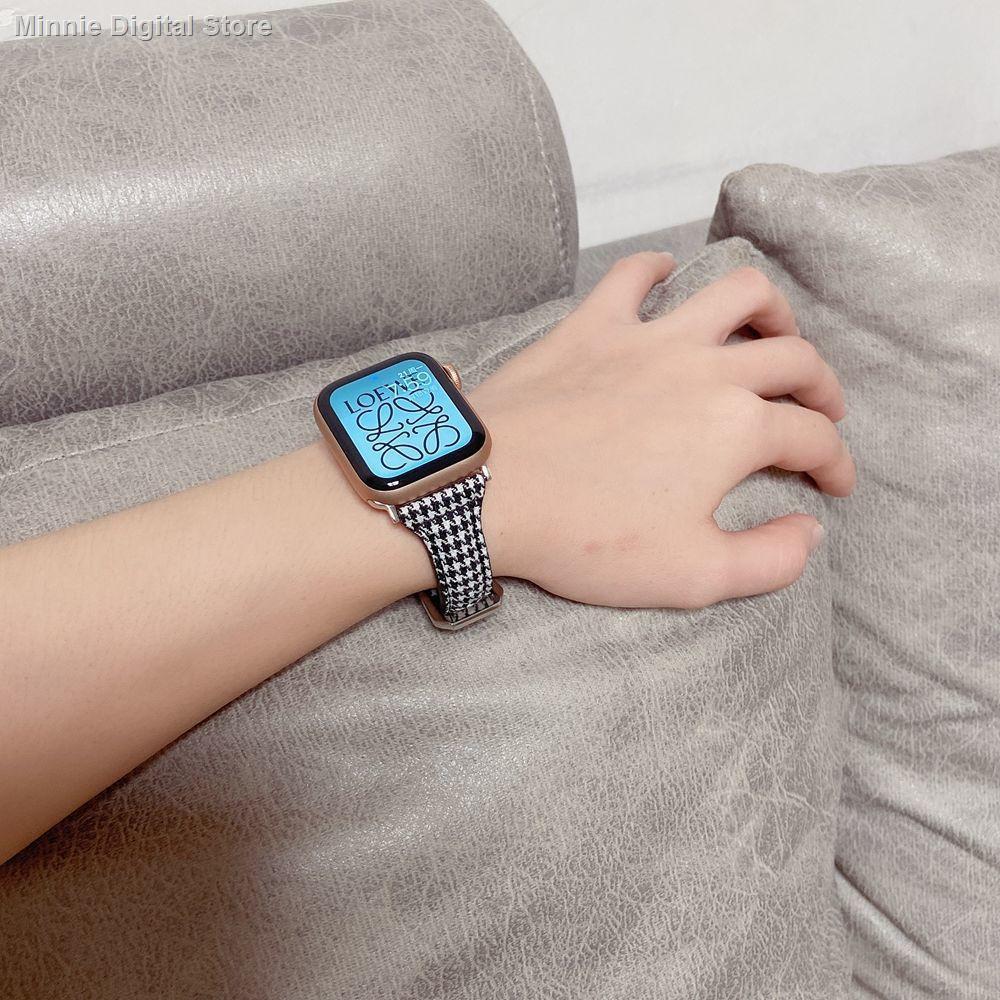 【อุปกรณ์เสริมของ applewatch】✉ↂใช้ได้กับสาย Applewatch หนัง houndstooth สาย Apple iwatch SE6 / 5/4/3/2 รุ่น