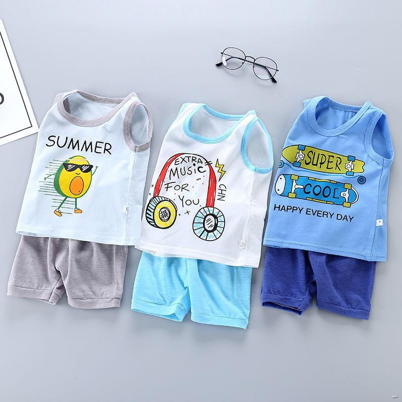 ยางยืดออกกําลังกาย◄(ชุดเด็ก)  ฤดูร้อนเด็กใหม่เสื้อกั๊กเด็กชายชุดผ้าฝ้ายแท้เด็กผู้หญิงแขนกุดเสื้อยืดกางเกงขาสั้น 0-6 ปีเ
