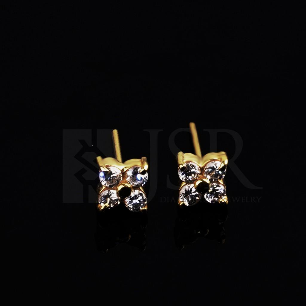 ต่างหูทองสี่ตา + 1 กรัมราคาถูก (c30)