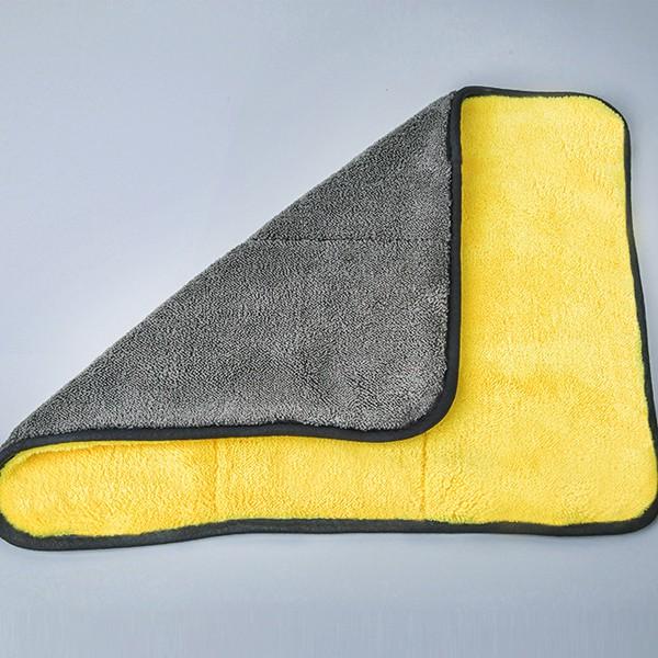 ผ้าไมโครไฟเบอร์ 3D เกรดพรีเมี่ยม หนานุ่ม ซับน้ำไว(สีเหลืองเทา) 30x30cm