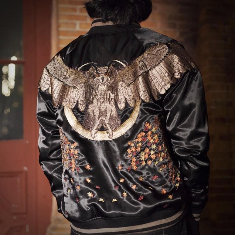 SUKAJAN พรีเมียมเกรด Japanese Souvenir Jacket  แจ็คเกตซูกาจันลาย  OWL