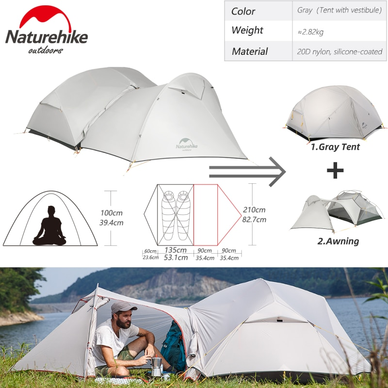 2020 New Naturehike Mongar 2 Camping Tent 2 Person 1.8kg 20D Nylon Fabric Double Layer Tent Camping 3000mm Waterproof  T