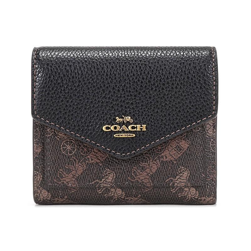 COACH COACH 2021ฤดูใบไม้ผลิและฤดูร้อนรุ่น หรูหรา สุภาพสตรีตู้เคลือบใบผ้าหนังกระเป๋าสตางค์สั้นกระเป๋าสตางค์สีดำสีน้ำตาลสา