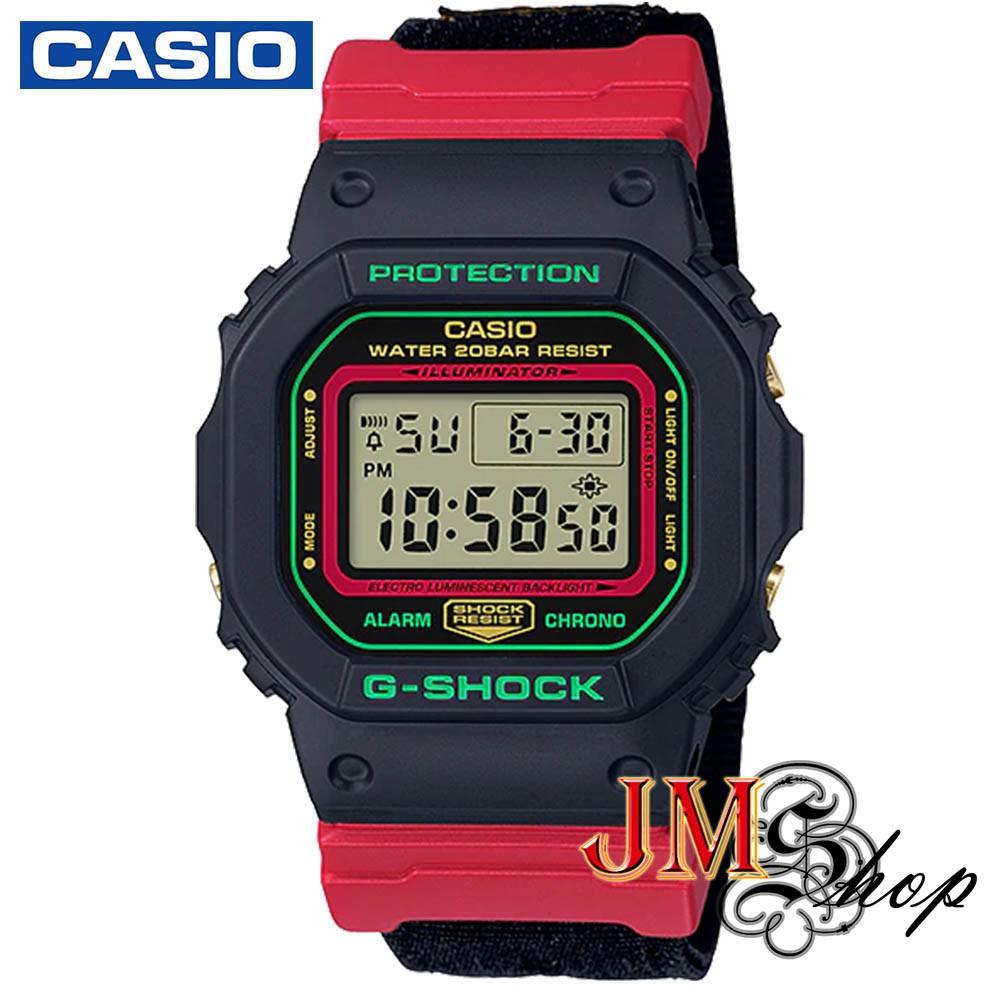 CASIO G-Shock นาฬิกาข้อมือ สายผ้า รุ่น DW-5600THC-1DR (สีดำ / แดง)