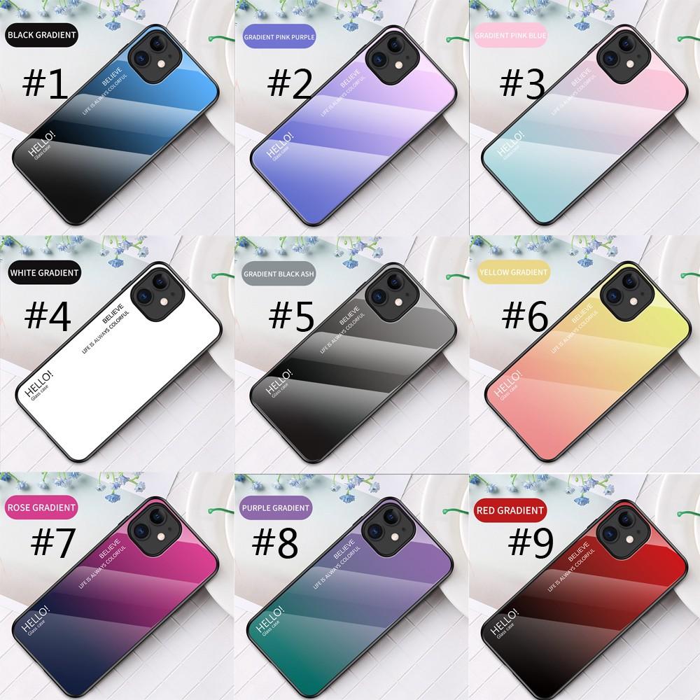 ยอมรับการปรับแต่ง✇⊕┅Casing Samsung Galaxy A01/A21/A41/A6S/A8S/A9 Pro Gradient tempered glass phone case