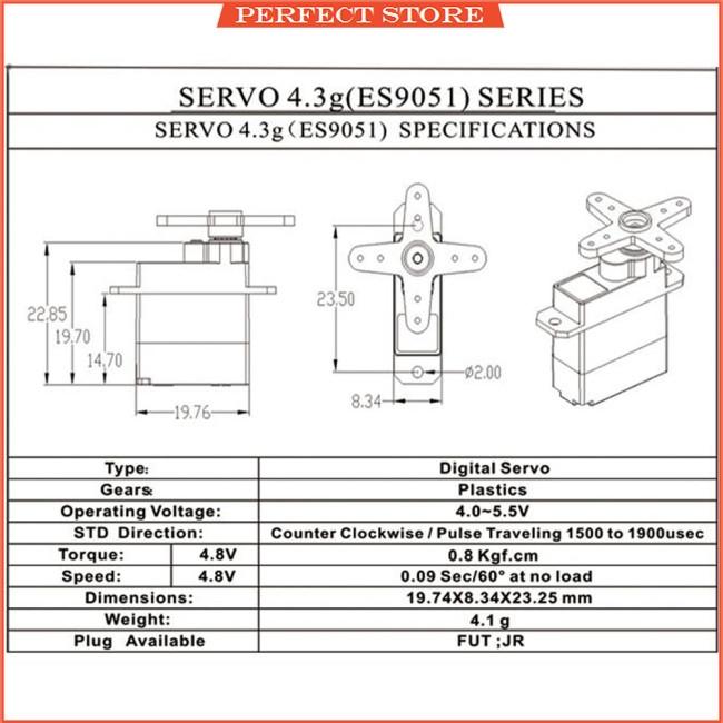 ES9051 Mini 4.3g Digital Servo Pastic Gear 0.8kg Torque for 3D F3P Airplanes