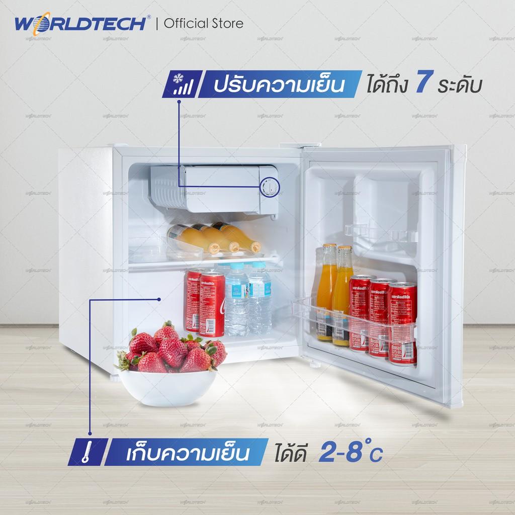 Worldtech ตู้เย็นมินิบาร์ 1.7 คิว รุ่น WT-MB48 ตู้เย็นขนาดเล็ก Mini Bar 46L ทำน้ำแข็งได้ ประหยัดไฟเบอร์ 5 (ผ่อนชำระ 0%)