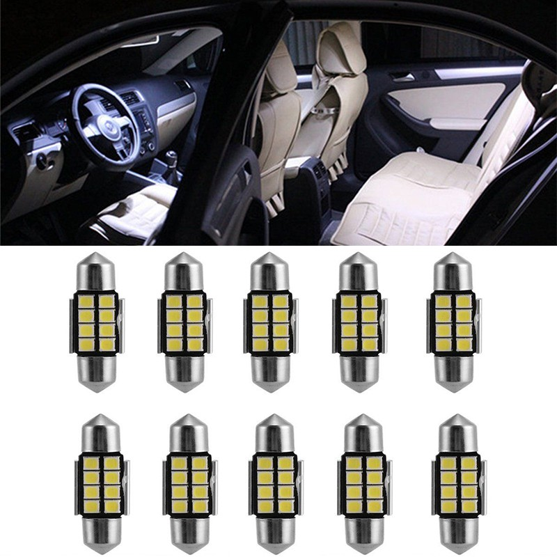4PCS white 31mm Festoon Dome Car Bulb 9 SMD 4014 LED Map Interior Light Lamp 12V
