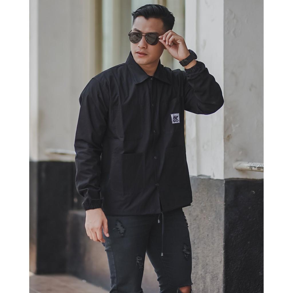 Rmb coach เสื้อแจ็คเก็ต indigo style 4 กระเป๋าผ้าแคนวาส