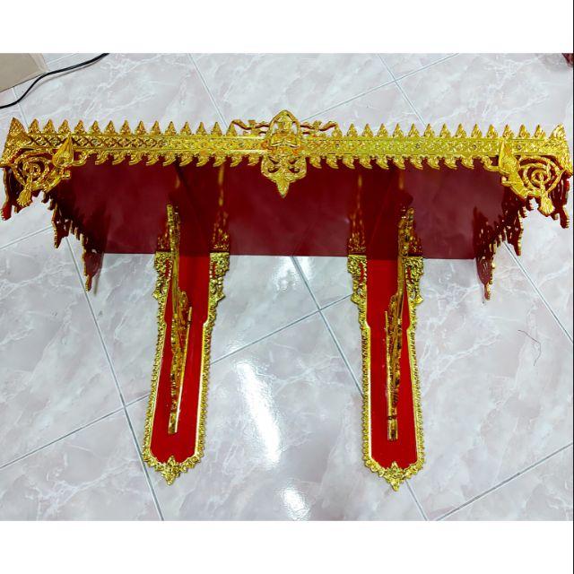 👉หิ้งพระ หิ้งพระลายไทย ติดผนัง ขนาด 30 นิ้ว 2 ขา สีแดงทอง  เกรด A ราคาโรงงาน