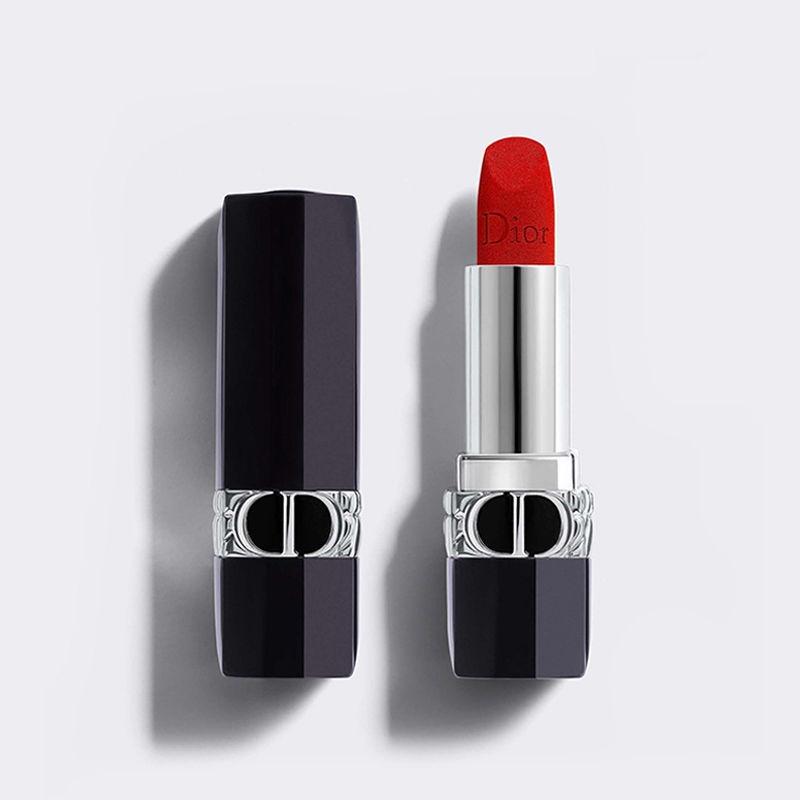 ลิปสติก Dior◐New Dior Dior Vivid Blue Gold Lipstick ลิปสติก Legendary New Color Velvet 999 Inner Core ที่สามารถถอดเปลี่ย