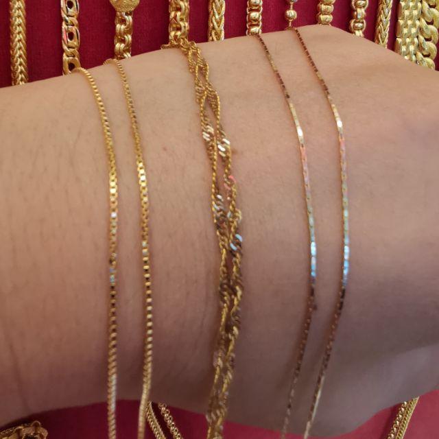  สร้อยคอทองแท้ 96.5%  เลเซอร์ทองคำขาว น้ำหนัก1 สลึง ยาว 21-22.5cm  ราคา 8,250บาท