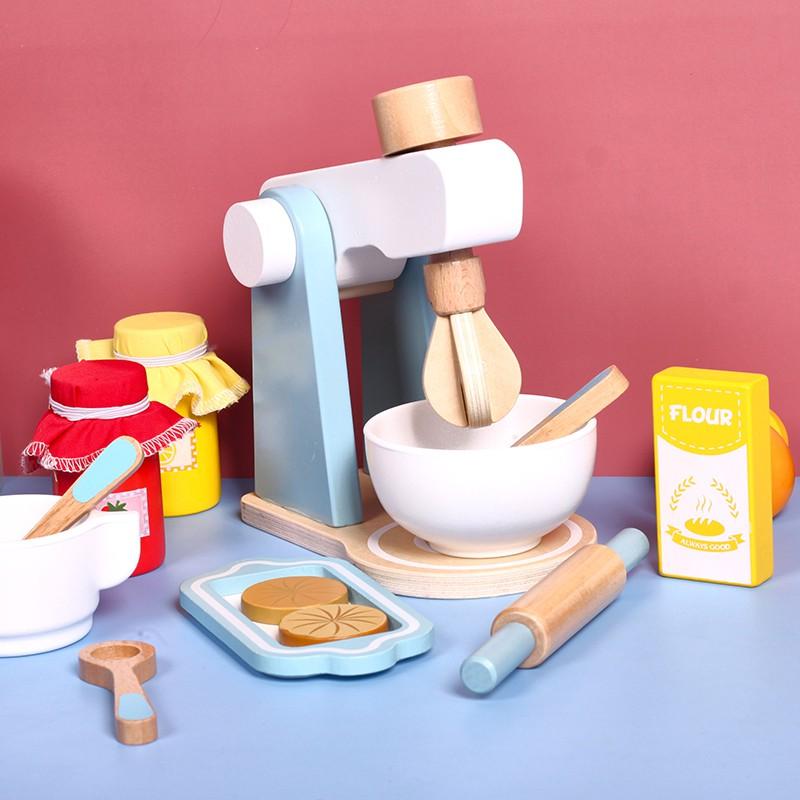 ชุดของเล่นบ้านเด็ก 3-4-6 ปีสาวจำลองครัวทำอาหารมินิเครื่องทำขนมปังกาแฟไม้