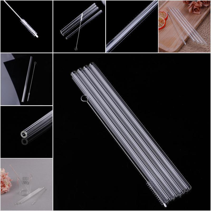 4pcs 20cm Reusable Drinking Straws Clear Glass Straws With 1pc Cleaning Brush 9U