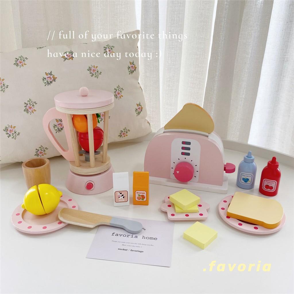 ✽Favoria เครื่องทำขนมปังไม้สีชมพู ins เครื่องทำกาแฟจำลองครัว play house ของเล่นเด็ก ของขวัญ ส่งฟรี