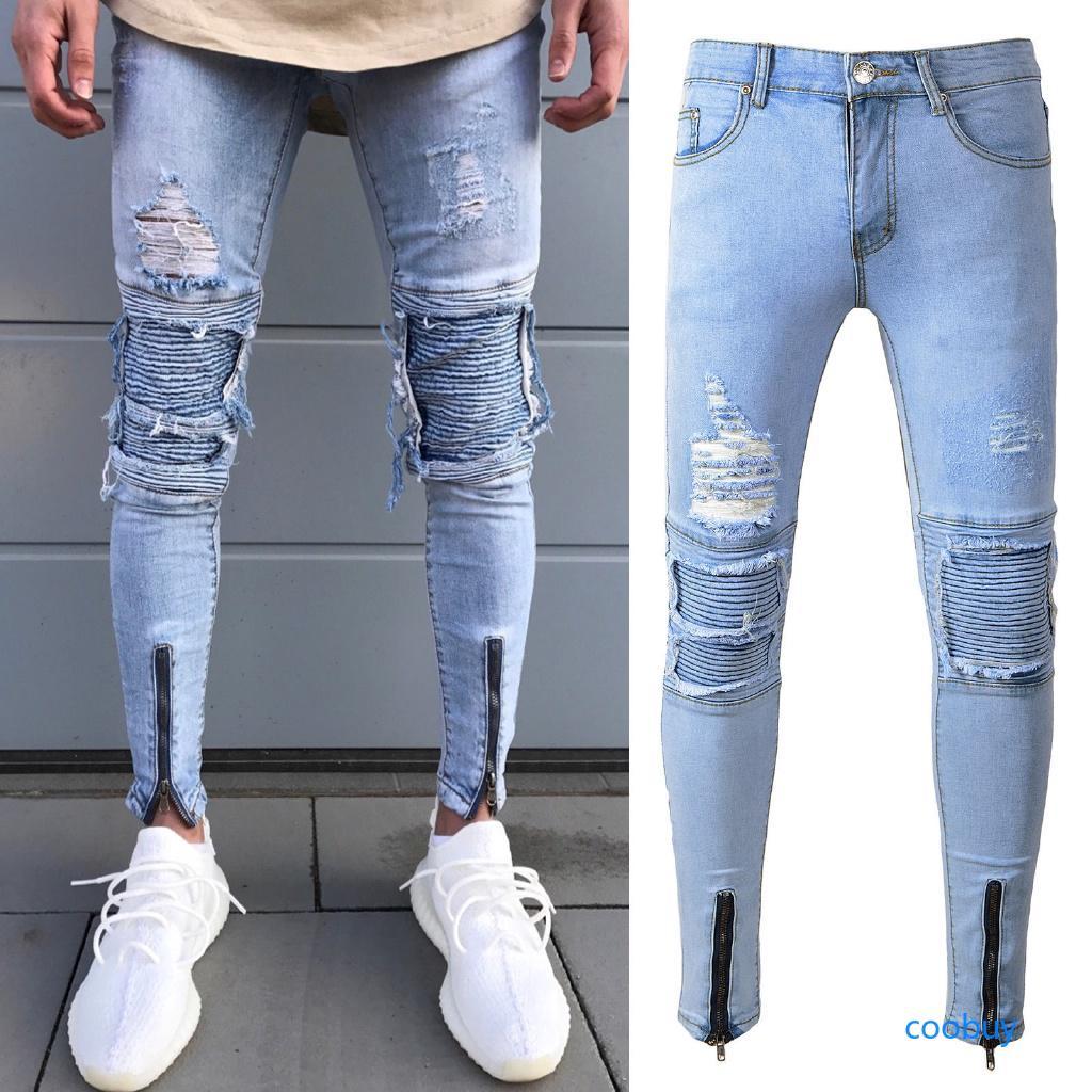 Jeans Slim Cb Destroyed Long Herren Mens ☜ Zipper Skinny Fit 76gfyYbv