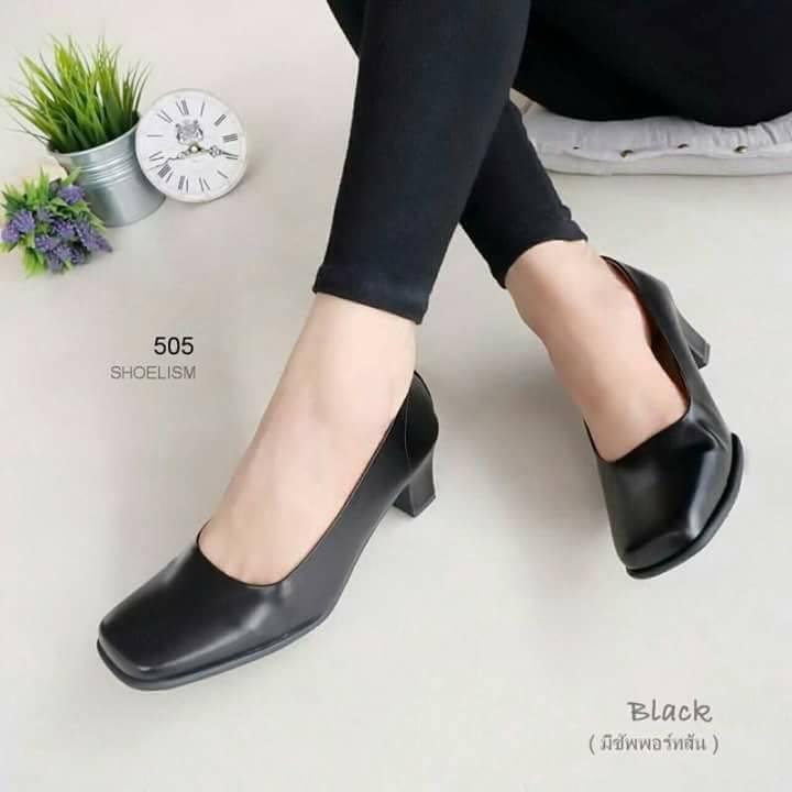"""รองเท้าคัชชู สีดำ ทรงสุภาพ ส้นสูง 2.5"""" หนัง pu เกรดเอ เงาด้าน หน้าตัด ไซส์35-42"""