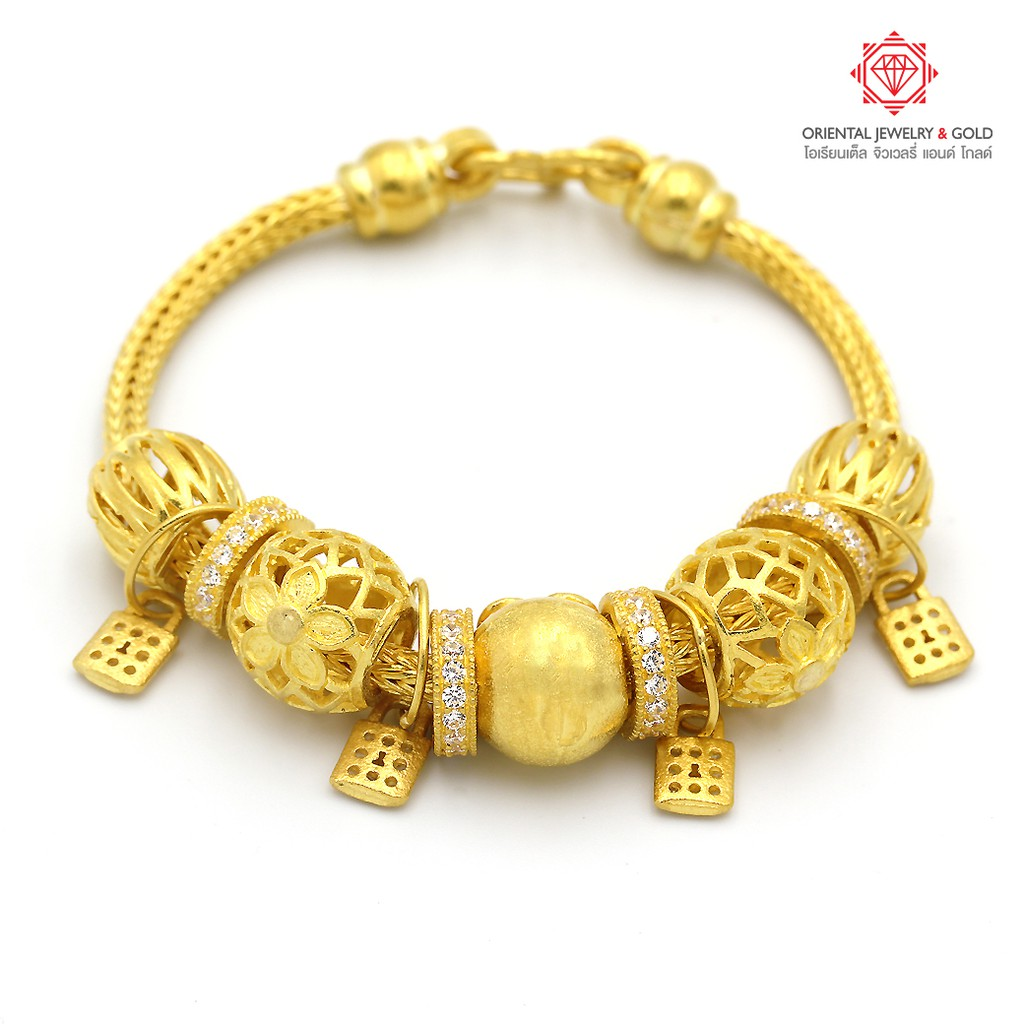 [ผ่อน0%] OJ GOLD สร้อยมือทองแท้ นน. 3 บาท 96.5% 45.6 กรัม ลงยา/2สี ขายได้ จำนำได้ มีใบรับประกัน สร้อยมือทอง