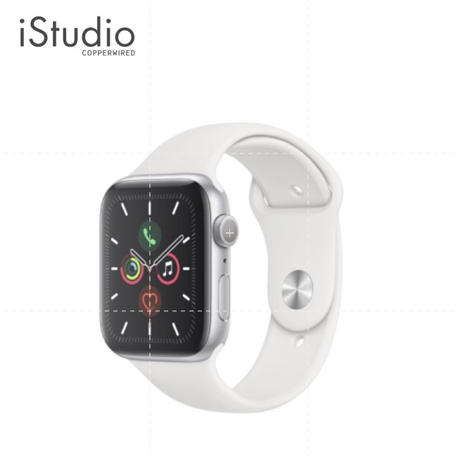 Apple Watch Series 5 (GPS) Silver Aluminum Case with White Sport Band iStudio by copperwired