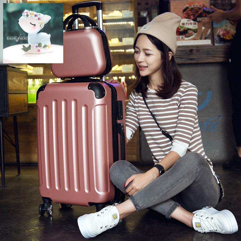 กระเป๋าถือขนาดเล็กสำหรับนักเรียน 18 ใบ, กระเป๋าเดินทางขนาดเล็กแบบล้อสากลของเกาหลี, กระเป๋ารถเข็นน้ำหนักเบาของโรงเรียนหญ