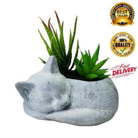 ไม้อวบน้ำในกระถางรูปแมว SPRING 02 แต่งบ้าน ดอกไม้ปลอม ดอกไม้พลาสติก สวยงาม ราคาถูก