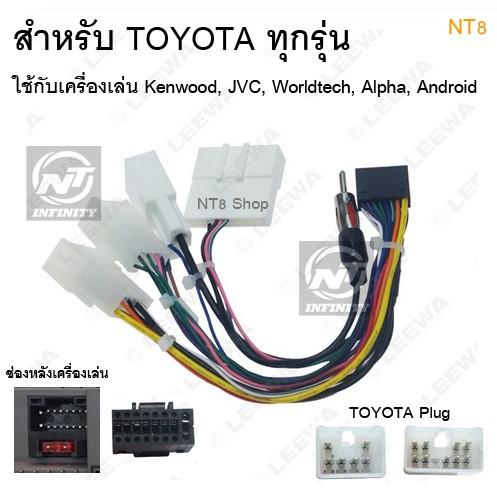 ปลั๊กตรงรุ่น Toyota พร้อมสายวิทยุ สำหรับ 2din Kenwood, JVC, Worldtech, Alpha, Android