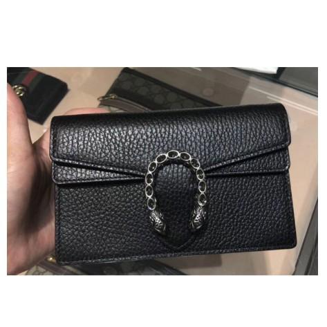 เคาน์เตอร์แบรนด์แท้ GUCCI Dionysus Leather Super Mini Shoulder Bag Chain Bag Black 476432 Spot