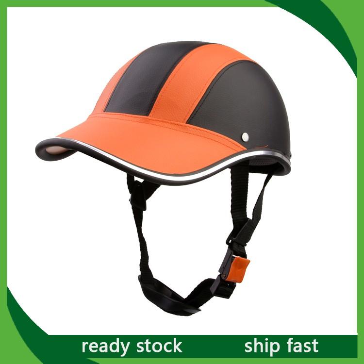 หมวกกันน็อก แบบครึ่งใบ เปิดหน้า หนัง PU สีส้ม สำหรับรถจักรยานยนต์ วิบาก