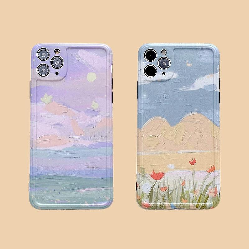 เคสโทรศัพท์มือถือลายภาพวาดสีม่วงสําหรับ Apple Iphone 11pro/7/8plus