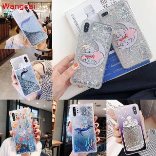 Review Huawei Y7 Pro 2018 Honor 9 Lite Y9 2018 Case Dumbo Cat Quicksand Liquid Bling Glitter Cute Cartoon Soft Cover