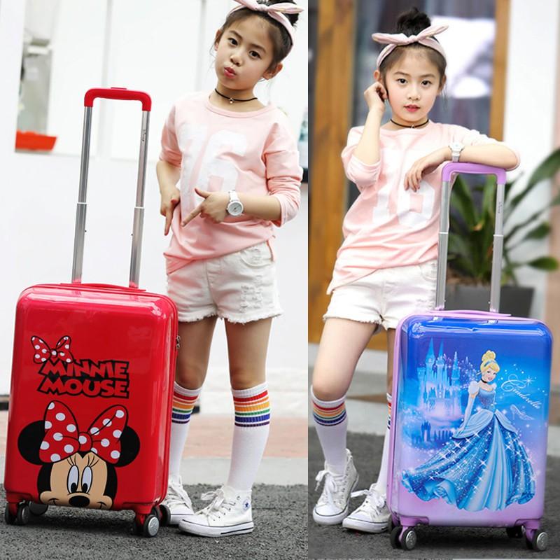 ♪❅ กระเป๋าเดินทางพกพา  กระเป๋ารถเข็นเดินทางกระเป๋าเดินทางเด็ก Disney กระเป๋าเดินทางเด็กรถเข็นกระเป๋าเดินทางการ์ตูนกระเป๋