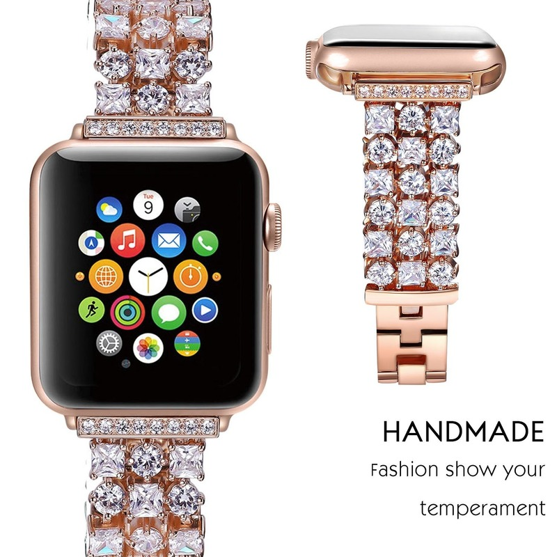 For Apple Watch 40 44 42 38 mm Band iWatch Series 6 5 4 3 2 SE Luxury Diamond strap Women Stainless Steel Bracelet Wristband
