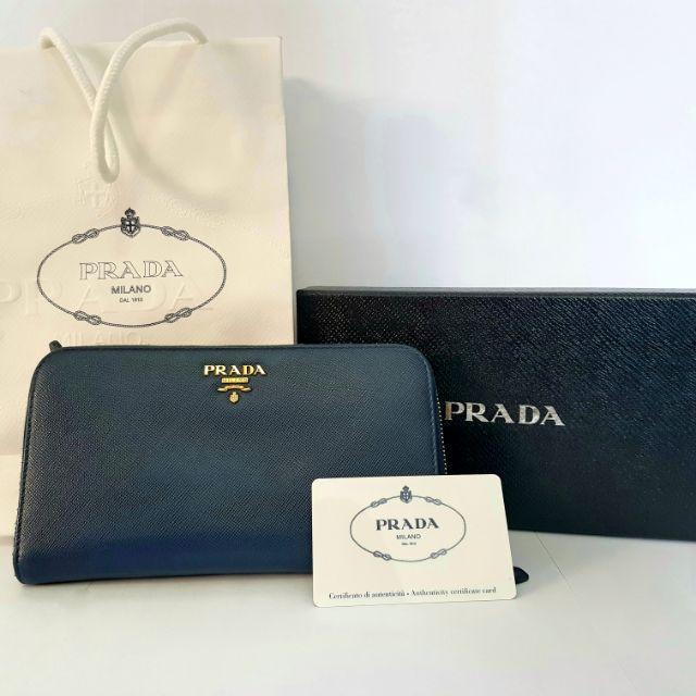 กระเป๋าสตางค์ Prada Saffiano Metal Wallet สีน้ำเงินเข้ม (Bluette) มือสอง Second Hand