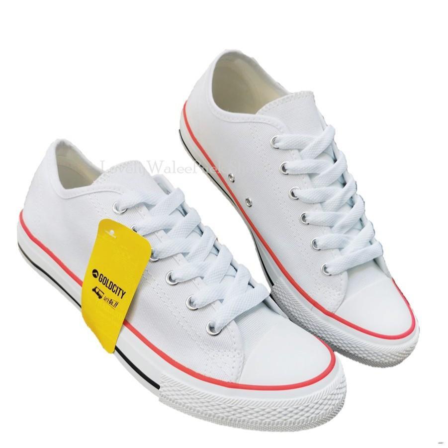 ยางยืดออกกําลังกาย♀┅❈Gold City Classic canvas สีขาวแดง รองเท้าผ้าใบ Size 36-45