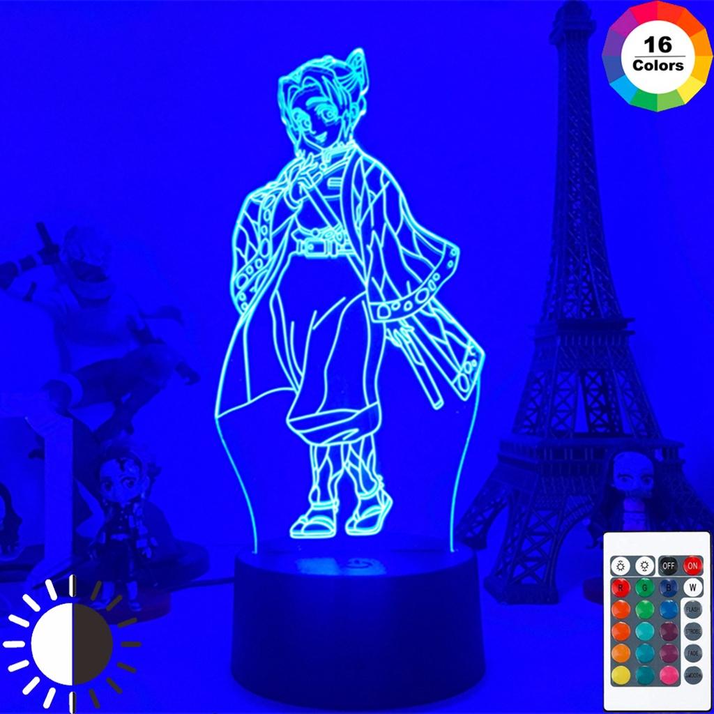 Demon Slayer 3D Led Light Kochou Shinobu Figure USB Nightlight Lamp for Room Decoration Birthday Atmosphere Light
