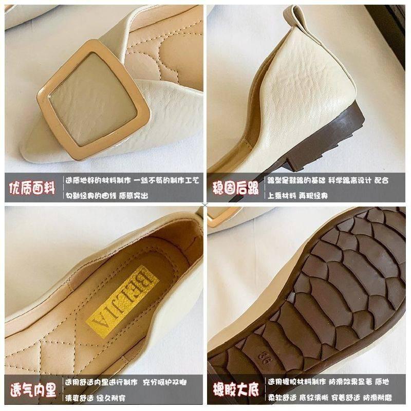 ร้องเท้า รองเท้าผู้หญิง รองเท้าคัชชู ♀รองเท้าเดียวของผู้หญิงรองเท้าแบนใหม่ตาข่ายสีแดงเวอร์ชั่นเกาหลีของอังกฤษอังกฤษสีดำน