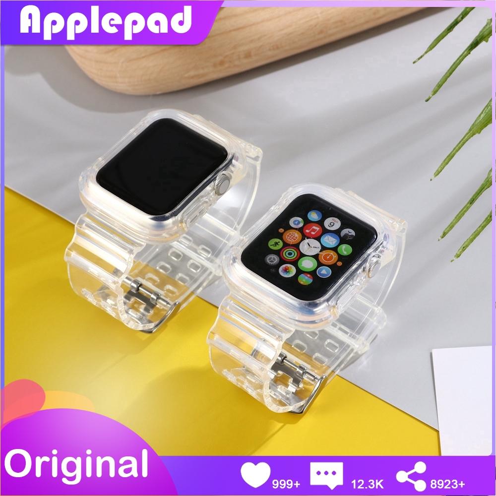 สายนาฬิกาข้อมือ พร้อมเคส แบบใส สําหรับ apple watch series 5 4 3 2 1 ขนาด 42 มม. 38 มม.44 มม.